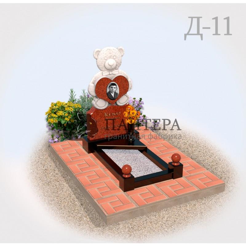 Памятник Мишка из красного гранита Д11