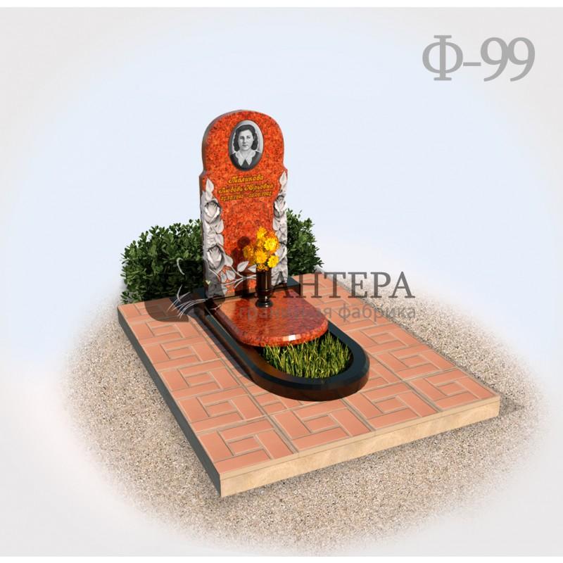 Памятник с цветами из красного гранита Ф99-1