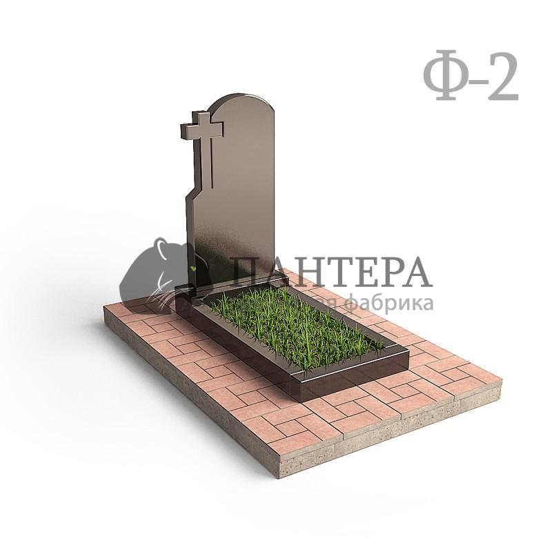 Эконом памятник с резным крестиком в углу. Ф-2
