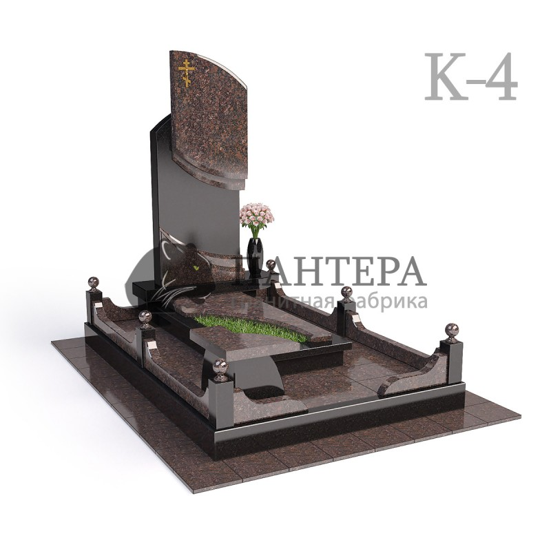 Мемориальный одиночный комплекс из двух видов гранитов. К-4