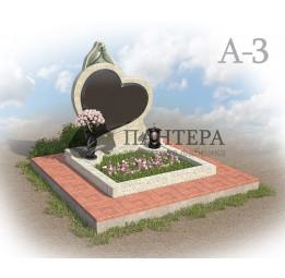 Авторский памятник из двух видов гранитов. А-3